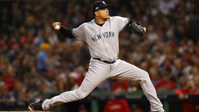 BOSTON, MA - OCTOBER 06: Pitcher Dellin Betances #68 of the New York Yankees pitches during the sixth inning of Game Two of the American League Division Series against the Boston Red Sox at Fenway Park on October 6, 2018 in Boston, Massachusetts.