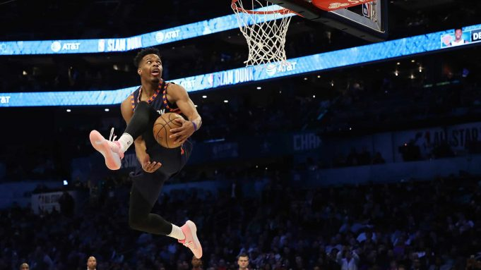 CHARLOTTE, NORTH CAROLINA - FEBRUARY 16: Dennis Smith, Jr. #5 of the New York Knicks goes up for a dunk during the AT&T Slam Dunk as part of the 2019 NBA All-Star Weekend at Spectrum Center on February 16, 2019 in Charlotte, North Carolina.