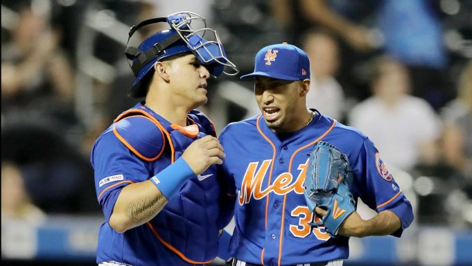 NEW YORK, NEW YORK - MAY 20: Wilson Ramos #40 and Edwin Diaz #39 of the New York Mets celebrate the win over the Washington Nationals at Citi Field on May 20, 2019 in the Flushing neighborhood of the Queens borough of New York City.The New York Mets defeated the Washington Nationals 5-3.