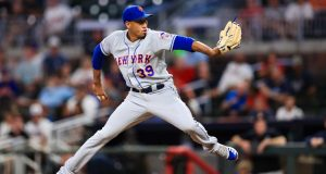 ATLANTA, GA - AUGUST 15: Edwin Diaz #39 of the New York Mets pitches in the ninth inning during the game against the Atlanta Braves at SunTrust Park on August 15, 2019 in Atlanta, Georgia.