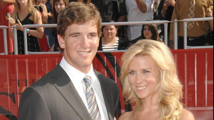 LOS ANGELES, CA - JULY 16: NFL athlete Eli Manning and wife Abby McGrew arrive at the 2008 ESPY Awards held at NOKIA Theatre L.A. LIVE on July 16, 2008 in Los Angeles, California. The 2008 ESPYs will air on Sunday, July 20 at 9PM ET on ESPN.