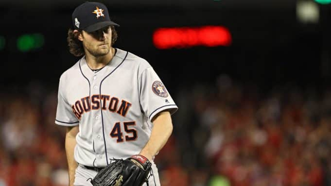WASHINGTON, DC - OCTOBER 27: Gerrit Cole #45 of the Houston Astros reacts against the Washington Nationals in Game Five of the 2019 World Series at Nationals Park on October 27, 2019 in Washington, DC.