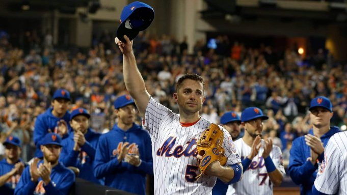 NEW YORK, NY - SEPTEMBER 29: (EDITORS NOTE: Retransmission with alternate crop.) David Wright #5 of the New York Mets acknowledges the crowd as he is removed from the final game of his career during the fifth inning against the Miami Marlins at Citi Field on September 29, 2018 in the Flushing neighborhood of the Queens borough of New York City.
