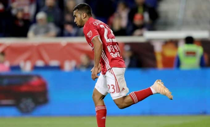 HARRISON, NEW JERSEY - APRIL 06: Cristian Casseres Jr #23 of New York Red Bulls celebrates his goal in the second half against the Minnesota United at Red Bull Arena on April 06, 2019 in Harrison, New Jersey.The Minnesota United defeated the New York Red Bulls 2-1.