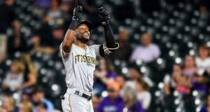 DENVER, CO - AUGUST 31: Starling Marte #6 of the Pittsburgh Pirates celebrates after a ninth inning run-scoring single against the Colorado Rockies at Coors Field on August 31, 2019 in Denver, Colorado.