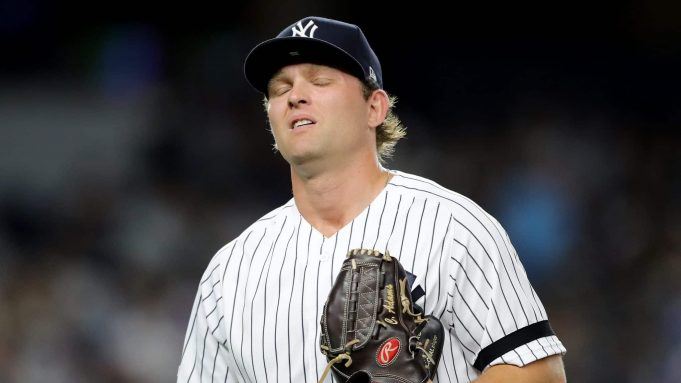 NEW YORK, NEW YORK - AUGUST 15: Chance Adams #35 of the New York Yankees reacts in the fourth inning against the Cleveland Indians at Yankee Stadium on August 15, 2019 in the Bronx borough of New York City.