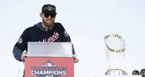 WASHINGTON, DC - NOVEMBER 02: Stephen Strasburg #37 of the Washington Nationals speaks during a parade to celebrate the Washington Nationals World Series victory over the Houston Astros on November 2, 2019 in Washington, DC. This is the first World Series win for the Nationals in 95 years.