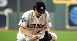HOUSTON, TEXAS - OCTOBER 22: Gerrit Cole #45 of the Houston Astros prepares to pitch against the Washington Nationals prior to the first inning in Game One of the 2019 World Series at Minute Maid Park on October 22, 2019 in Houston, Texas.