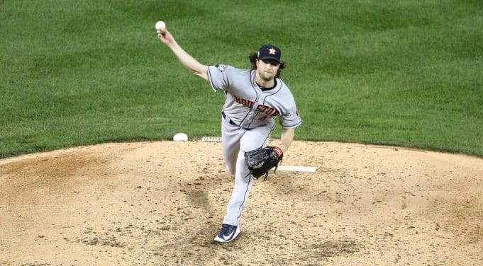 WASHINGTON, DC - OCTOBER 27: Gerrit Cole #45 of the Houston Astros delivers the pitch against the Washington Nationals during the fourth inning in Game Five of the 2019 World Series at Nationals Park on October 27, 2019 in Washington, DC.