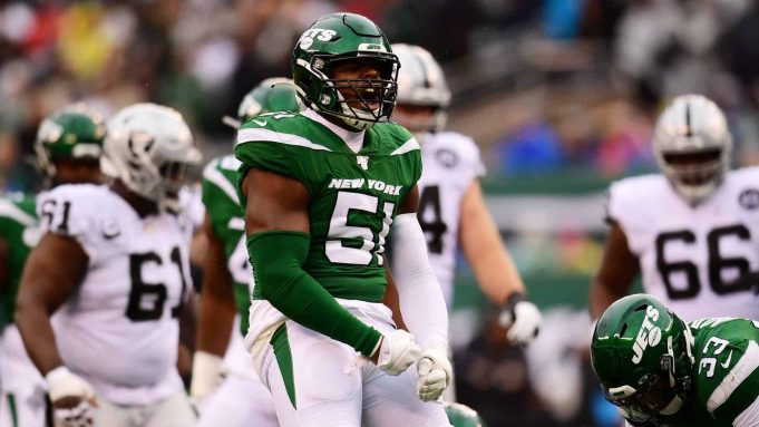 EAST RUTHERFORD, NEW JERSEY - NOVEMBER 24: Brandon Copeland #51 of the New York Jets reacts during the second quarter of their game against the Oakland Raiders at MetLife Stadium on November 24, 2019 in East Rutherford, New Jersey.