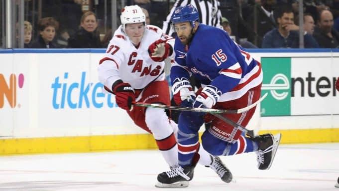 NEW YORK, NEW YORK - NOVEMBER 27: Boo Nieves #15 of the New York Rangers skates against the Carolina Hurricanes at Madison Square Garden on November 27, 2019 in New York City. The Rangers defeated the Hurricanes 3-2.