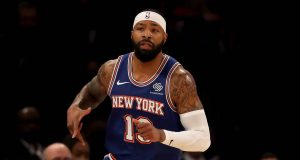 NEW YORK, NEW YORK - DECEMBER 05: Marcus Morris Sr. #13 of the New York Knicks celebrates his shot in the first half against the Denver Nuggets at Madison Square Garden on December 05, 2019 in New York City. NOTE TO USER: User expressly acknowledges and agrees that, by downloading and or using this photograph, User is consenting to the terms and conditions of the Getty Images License Agreement.