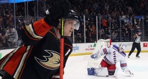 ANAHEIM, CALIFORNIA - DECEMBER 14: Jakob Silfverberg #33 of the Anaheim Ducks scores the game winning goal in the shoot-out against Henrik Lundqvist #30 of the New York Rangers at the Honda Center on December 14, 2019 in Anaheim, California. The Ducks defeated the Rangers 4-3 in the shoot-out.