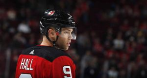 NEWARK, NJ - MARCH 4: Taylor Hall #9 of the New Jersey Devils during warm ups prior to taking on the Vegas Golden Knights at the Prudential Center on March 4, 2018 in Newark, New Jersey.