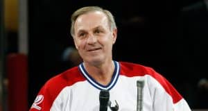 MONTREAL- DECEMBER 4: Former Montreal Canadien Guy Lafleur speaks to fans during the Centennial Celebration ceremonies prior to the NHL game between the Montreal Canadiens and Boston Bruins on December 4, 2009 at the Bell Centre in Montreal, Quebec, Canada. The Canadiens defeated the Bruins 5-1.