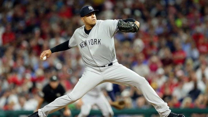 PHILADELPHIA, PA - JUNE 25: Dellin Betances #68 of the New York Yankees delivers a pitch in the seventh inning during a game against the Philadelphia Phillies at Citizens Bank Park on June 25, 2018 in Philadelphia, Pennsylvania. The Yankees won 4-2.