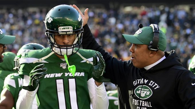 EAST RUTHERFORD, NEW JERSEY - DECEMBER 22: Robby Anderson #11 of the New York Jets is congratulated by assistant coach Hines Ward after a touchdown catch against the Pittsburgh Steelers during the first half at MetLife Stadium on December 22, 2019 in East Rutherford, New Jersey.