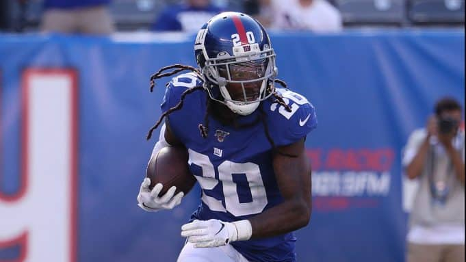 EAST RUTHERFORD, NEW JERSEY - SEPTEMBER 29: Janoris Jenkins #20 of the New York Giants returns an interception against the Washington Redskins during their game at MetLife Stadium on September 29, 2019 in East Rutherford, New Jersey.