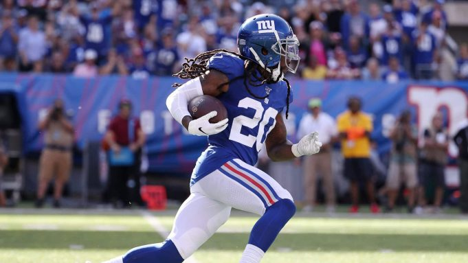 EAST RUTHERFORD, NEW JERSEY - SEPTEMBER 29: Janoris Jenkins #20 of the New York Giants intercepts and runs back the ball against the Washington Redskins during their game at MetLife Stadium on September 29, 2019 in East Rutherford, New Jersey.