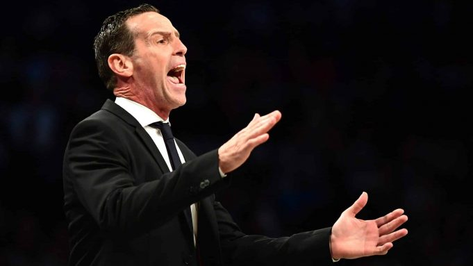 NEW YORK, NEW YORK - OCTOBER 23: Brooklyn Nets head coach Kenny Atkinson reacts during the first half of their game against the Minnesota Timberwolves at Barclays Center on October 23, 2019 in the Brooklyn borough of New York City. NOTE TO USER: User expressly acknowledges and agrees that, by downloading and or using this photograph, User is consenting to the terms and conditions of the Getty Images License Agreement.