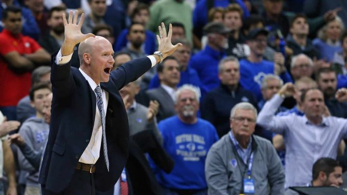 NEWARK, NJ - DECEMBER 19: Head coach Kevin Willard of the Seton Hall Pirates reacts during the second half of a college basketball game against the Maryland Terrapins at Prudential Center on December 19, 2019 in Newark, New Jersey. Seton Hall defeated Maryland 52-48.