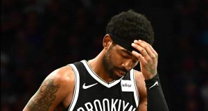 NEW YORK, NEW YORK - OCTOBER 23: Kyrie Irving #11 of the Brooklyn Nets reacts during the second half of their game against the Minnesota Timberwolves at Barclays Center on October 23, 2019 in the Brooklyn borough of New York City. NOTE TO USER: User expressly acknowledges and agrees that, by downloading and or using this photograph, User is consenting to the terms and conditions of the Getty Images License Agreement.