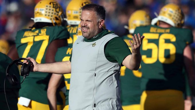 LAWRENCE, KANSAS - NOVEMBER 30: Head coach Matt Rhule of the Baylor Bears reacts on the sidelines during the game against the Kansas Jayhawks at Memorial Stadium on November 30, 2019 in Lawrence, Kansas.
