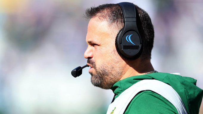 FORT WORTH, TEXAS - NOVEMBER 09: Head coach Matt Rhule of the Baylor Bears leads the Bears against the TCU Horned Frogs in the first quarter at Amon G. Carter Stadium on November 09, 2019 in Fort Worth, Texas.