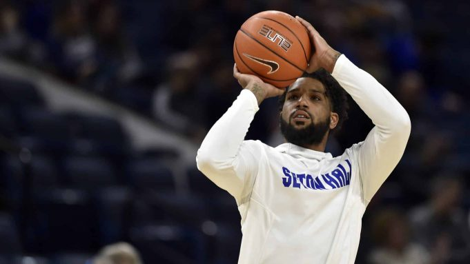 CHICAGO, ILLINOIS - DECEMBER 30: Myles Powell #13 and teammates of the Seton Hall Pirates warms up before the game against the DePaul Blue Demons at Wintrust Arena on December 30, 2019 in Chicago, Illinois.