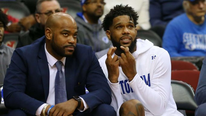 NEWARK, NJ - NOVEMBER 23: Myles Powell #13 of the Seton Hall Pirates crosses his fingers while sitting next to assistant coach Brandon Hall during the second half of a college basketball game against the Florida A&M Rattlers at Prudential Center on November 23, 2019 in Newark, New Jersey. Seton Hall defeated Florida A&M 87-51.