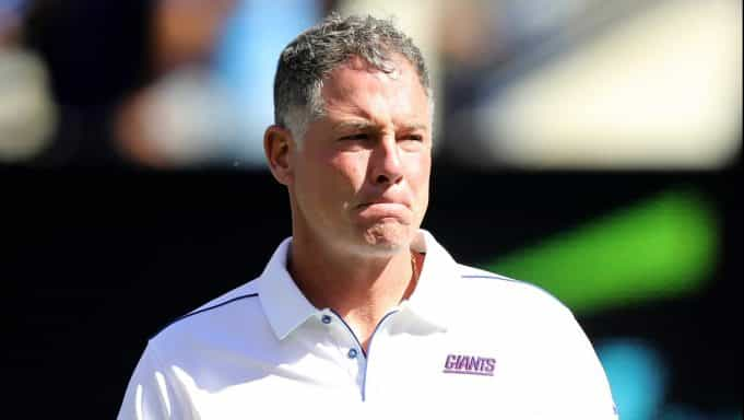 EAST RUTHERFORD, NEW JERSEY - SEPTEMBER 29: Head coach Pat Shurmur of the New York Giants walks on the field during warm ups before the game against the Washington Redskins at MetLife Stadium on September 29, 2019 in East Rutherford, New Jersey.