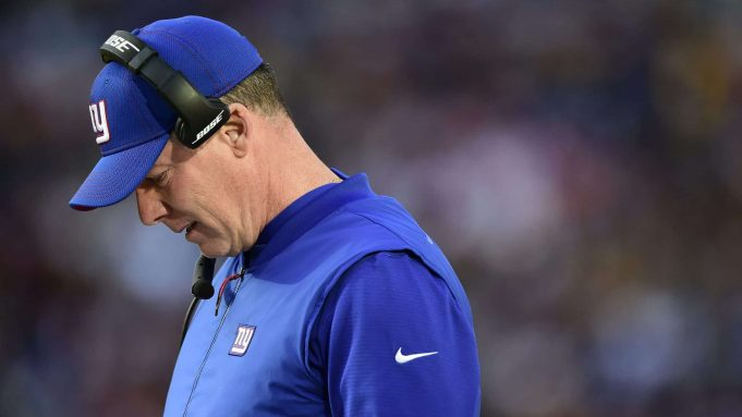 LANDOVER, MD - DECEMBER 22: Head coach Pat Shurmur of the New York Giants looks on from the sideline in the first half against the Washington Redskins at FedExField on December 22, 2019 in Landover, Maryland.