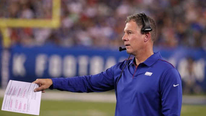 EAST RUTHERFORD, NEW JERSEY - AUGUST 08: Head coach Pat Shurmur of the New York Giants looks on against the New York Jets during their Pre Season game at MetLife Stadium on August 08, 2019 in East Rutherford, New Jersey.