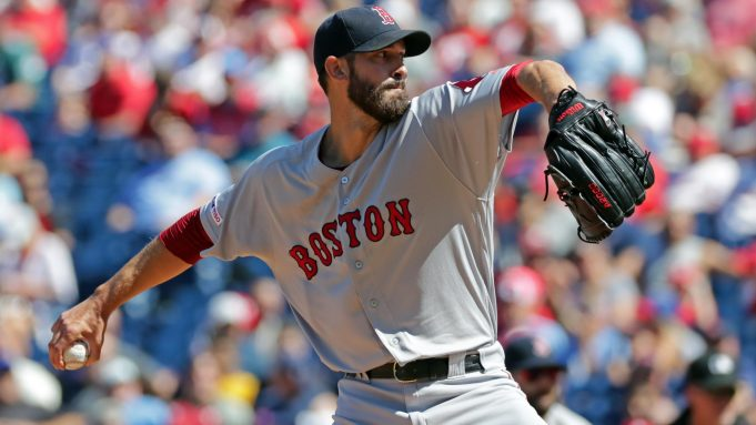 PHILADELPHIA, PA - SEPTEMBER 15: Rick Porcello #22 of the Boston Red Sox delivers a pitch in the first inning during a game against the Philadelphia Phillies at Citizens Bank Park on September 15, 2019 in Philadelphia, Pennsylvania.