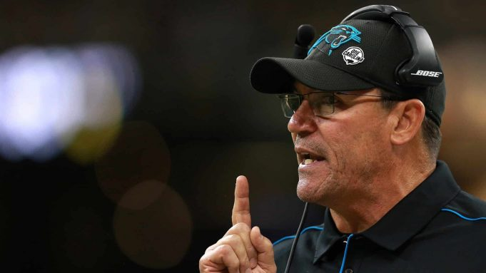 NEW ORLEANS, LOUISIANA - NOVEMBER 24: Head coach Ron Rivera of the Carolina Panthers reacts against the New Orleans Saints during the first quarter in the game at Mercedes Benz Superdome on November 24, 2019 in New Orleans, Louisiana.