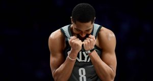 NEW YORK, NEW YORK - DECEMBER 21: Spencer Dinwiddie #8 of the Brooklyn Nets reacts to a foul in the second half of their game against the Atlanta Hawks at Barclays Center on December 21, 2019 in New York City. NOTE TO USER: User expressly acknowledges and agrees that, by downloading and or using this photograph, User is consenting to the terms and conditions of the Getty Images License Agreement.