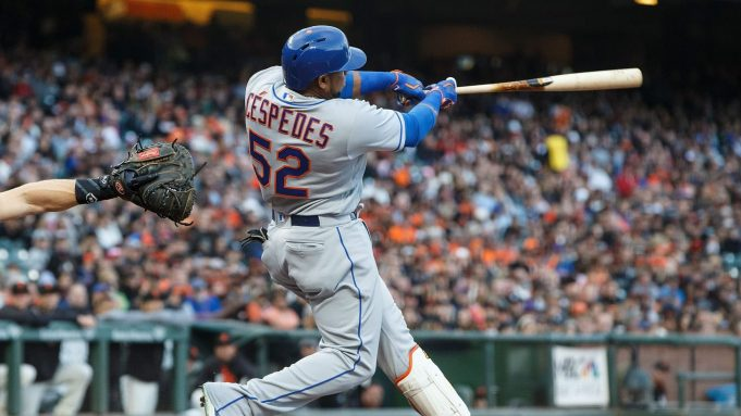 SAN FRANCISCO, CA - JUNE 23: Yoenis Cespedes #52 of the New York Mets hits a two run home run against the San Francisco Giants during the second inning at AT&T Park on June 23, 2017 in San Francisco, California.