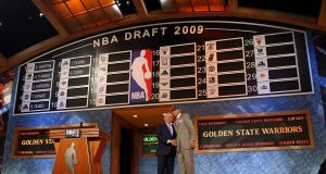 NEW YORK - JUNE 25: NBA Commissioner David Stern poses for a photograph with the seventh overall draft pick by the Golden State Warriors, Stephen Curry during the 2009 NBA Draft at the Wamu Theatre at Madison Square Garden June 25, 2009 in New York City. NOTE TO USER: User expressly acknowledges and agrees that, by downloading and/or using this Photograph, User is consenting to the terms and conditions of the Getty Images License Agreement.
