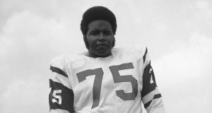FILE- This July 17, 1972, file photo shows, Winston Hill of the New York Jets. Hill, a durable Pro Bowl offensive tackle who helped protect Joe Namath on the way to the New York Jets' Super Bowl victory in 1969, has died. He was 74. The team announced Tuesday, April 26, 2016, that Hill died in his adopted hometown of Denver.