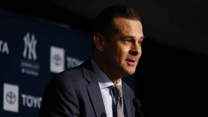 NEW YORK, NEW YORK - DECEMBER 18: New York Yankee manager Aaron Boone speaks to the media during the New York Yankees press conference to introduce Gerrit Cole at Yankee Stadium on December 18, 2019 in New York City.