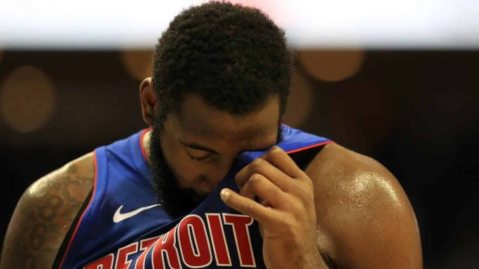 CHARLOTTE, NORTH CAROLINA - OCTOBER 16: Andre Drummond #0 of the Detroit Pistons during their game at Spectrum Center on October 16, 2019 in Charlotte, North Carolina. NOTE TO USER: User expressly acknowledges and agrees that, by downloading and or using this photograph, User is consenting to the terms and conditions of the Getty Images License Agreement.