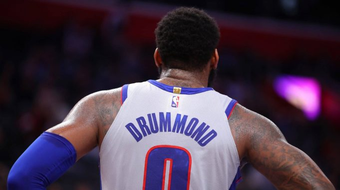 DETROIT, MICHIGAN - DECEMBER 23: Andre Drummond #0 of the Detroit Pistons while playing the Philadelphia 76ers at Little Caesars Arena on December 23, 2019 in Detroit, Michigan. NOTE TO USER: User expressly acknowledges and agrees that, by downloading and or using this photograph, User is consenting to the terms and conditions of the Getty Images License Agreement.