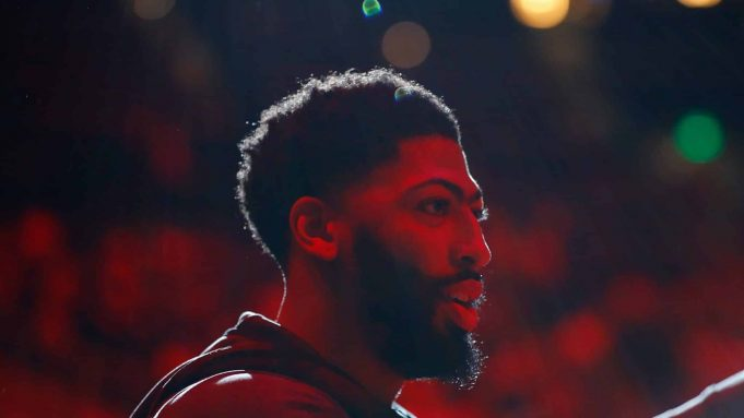 ATLANTA, GEORGIA - DECEMBER 15: Anthony Davis #3 of the Los Angeles Lakers reacts as he is introduced prior to the game against the Atlanta Hawks at State Farm Arena on December 15, 2019 in Atlanta, Georgia. NOTE TO USER: User expressly acknowledges and agrees that, by downloading and/or using this photograph, user is consenting to the terms and conditions of the Getty Images License Agreement.