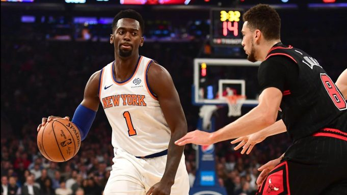 NEW YORK, NEW YORK - OCTOBER 28: Bobby Portis #1 of the New York Knicks brings the ball up court against Zach LaVine #8 of the Chicago Bulls in the first half at Madison Square Garden on October 28, 2019 in New York City. NOTE TO USER: User expressly acknowledges and agrees that, by downloading and or using this Photograph, user is consenting to the terms and conditions of the Getty Images License Agreement.