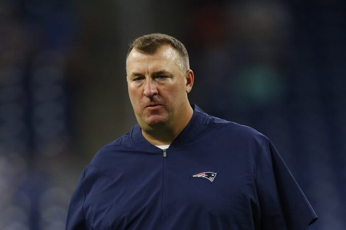 New England Patriots defensive line coach Bret Bielema watches during an NFL preseason football game against the Detroit Lions in Detroit, Thursday, Aug. 8, 2019.