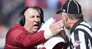 OXFORD, MS - OCTOBER 28: Head Coach Bret Bielema of the Arkansas Razorbacks calls a time out near the end of the game during a game against the Ole Miss Rebels at Hemingway Stadium on October 28, 2017 in Oxford, Mississippi. The Razorbacks defeated the Rebels 38-37.