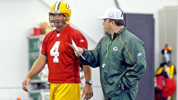 GREEN BAY, WI - MAY 5: Green Bay Packers' Brett Favre (L) talks with new head coach Mike McCarthy (R) before the start of the first mini camp at the Don Hutson Center on May 5, 2006 in Green Bay, Wisconsin.