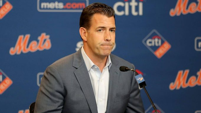 NEW YORK, NEW YORK - MAY 20: New York Mets general manager Brodie Van Wagenen answers questions during a press conference before the game between the New York Mets and the Washington Nationals at Citi Field on May 20, 2019 in the Flushing neighborhood of the Queens borough of New York City.