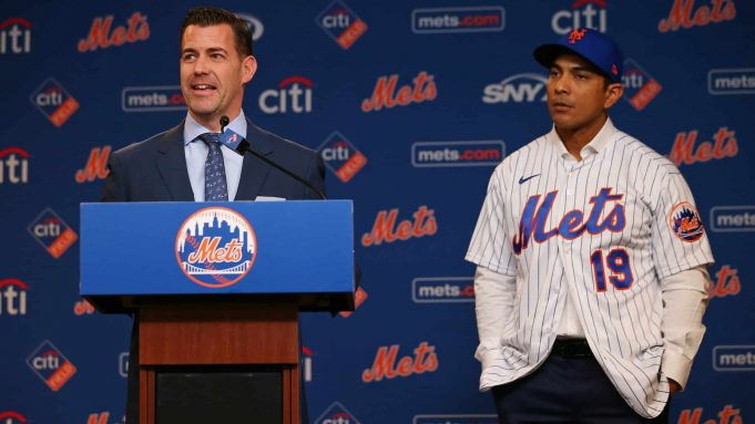 NEW YORK, NY - JANUARY 24: Luis Rojas, right, listens in as New York Mets General Manager Brodie Van Wagenen talks after being introduced as the team's new manager at Citi Field on January 24, 2020 in New York City. Listening in is the team's general manager . Rojas had been the Mets quality control coach and was tapped as a replacement after the newly hired Carlos Beltrán was implicated for his role as a player in 2017 in the Houston Astros sign-stealing scandal.