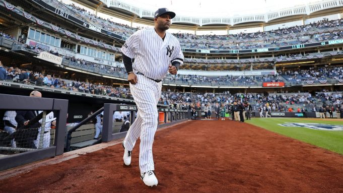 NEW YORK, NEW YORK - OCTOBER 15: CC Sabathia #52 of the New York Yankees takes the field as he is introduced prior to game three of the American League Championship Series against the Houston Astros at Yankee Stadium on October 15, 2019 in New York City.